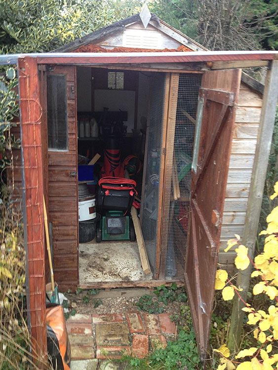 The New Shed Was Erected And Work Benches Built Inside To Allow Chris More  Storage Space.
